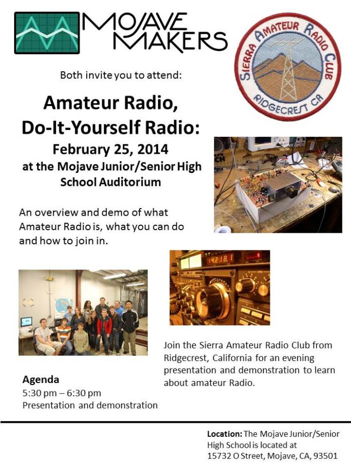 Ham Radio and Mojave Makers Flyer - 2.25.14